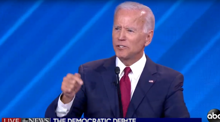 Joe Biden at the Democratic Debate delivers the record player answer
