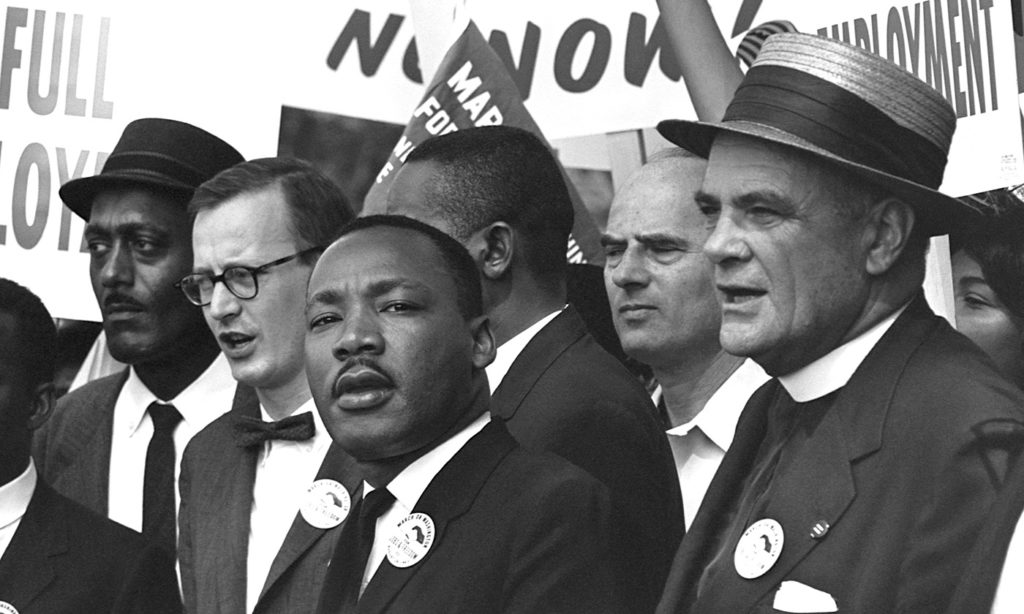 The Reverend Martin Luther King, Jr. with compatriots at the March on Washington for Jobs and Freedom on August 28, 1963