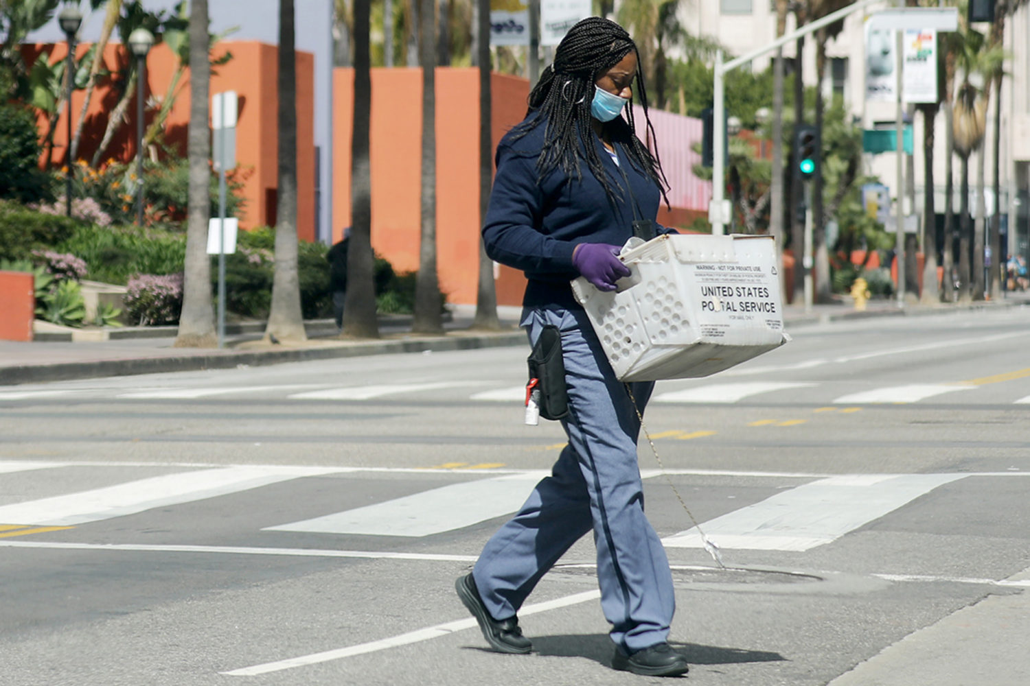U.S. Postal Service worker in Los Angeles, California